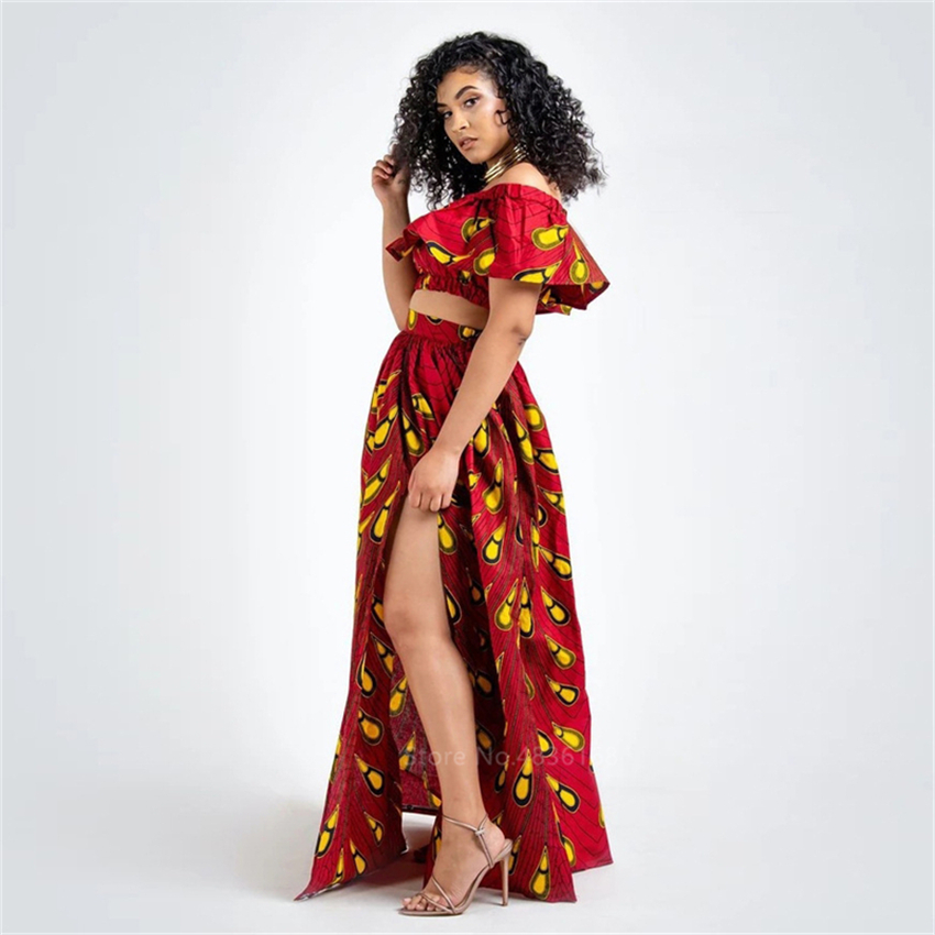2020 News Ankara Style African Clothes Dashiki Print Top Skirts Fashion Feather Party African Dresses for Women Robe Africaine 5