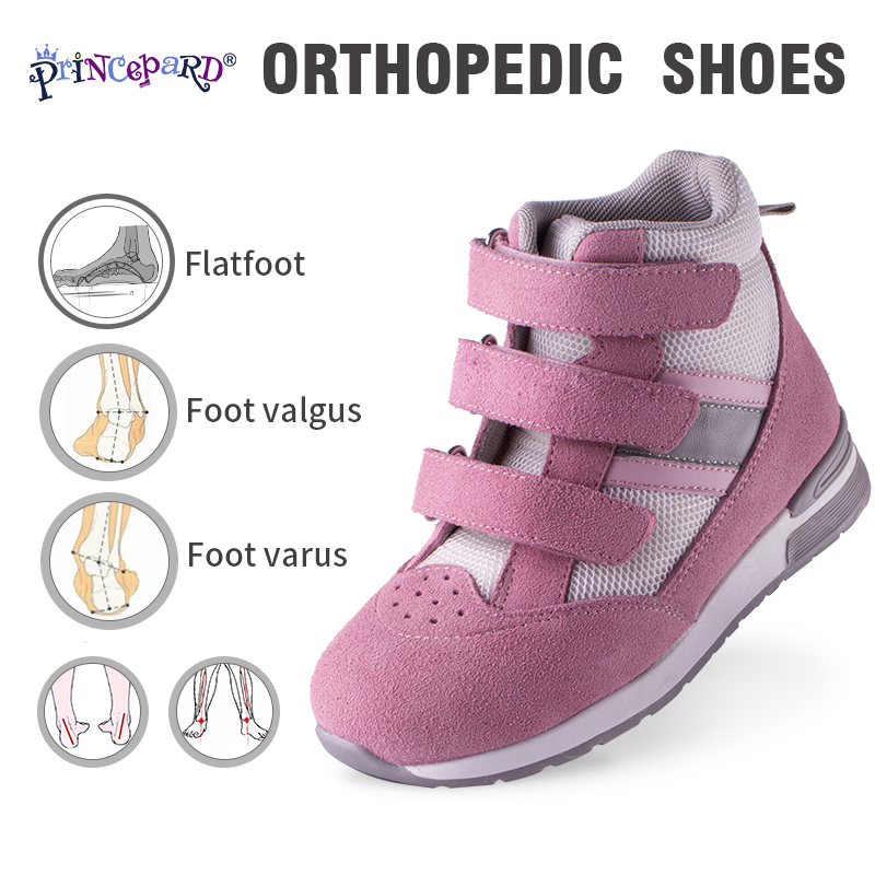 Princepard Children Orthopedic Shoes Adjustable Strap Corrective Casual Shoes With Ankle Support Care For Kids Boys Girls