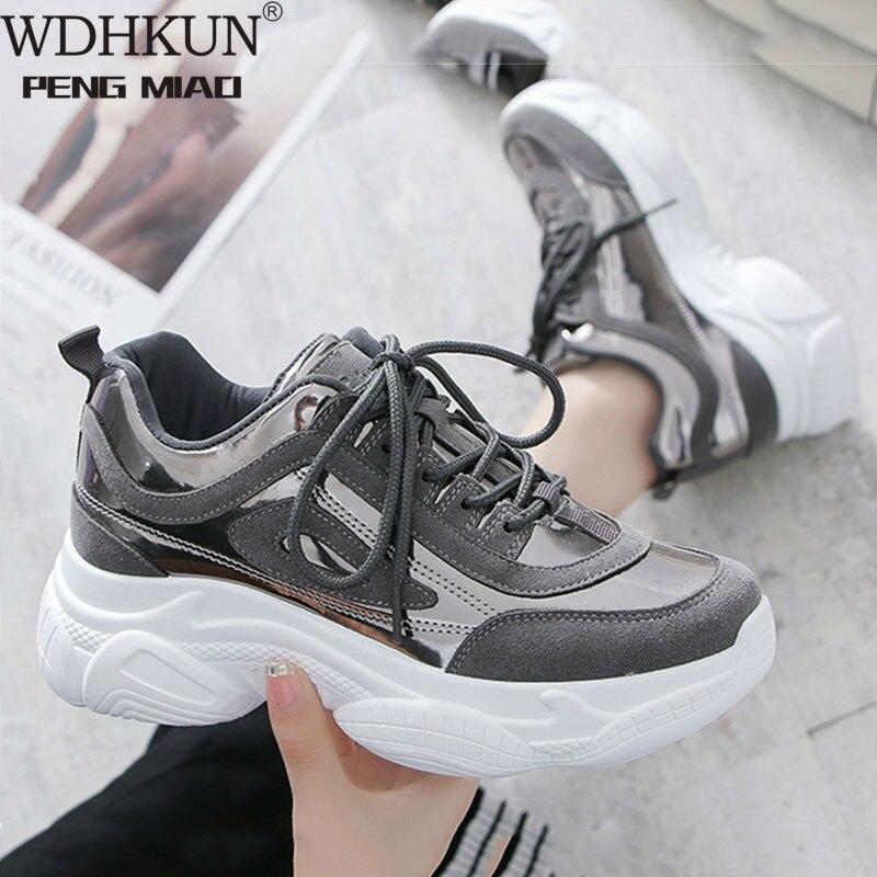 WDHKUN Women Shoes casual women platform sneakers chunky white pink ladies vulcanized shoes footwear 2020 tenis feminino HVT603