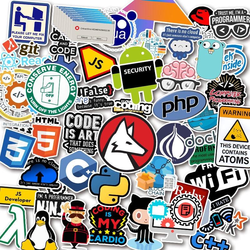 10/30/50pcs Programmer Geek Java Waterproof PVC Stickers Skateboard Guitar Suitcase Freezer Laptop Motorcycle Graffiti Sticker
