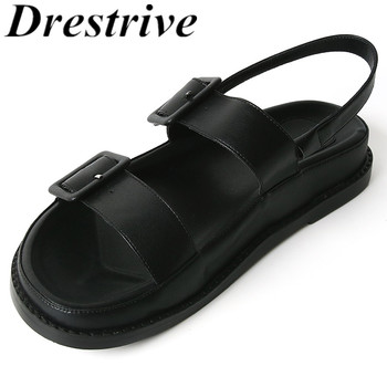 Drestrive Women's Sandals Buckle Round Toe Flats 2020 Summer Girls Casual Shoes Black Low Heels Beach Shoes Platform Size 40