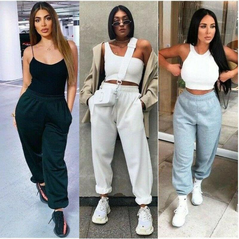 New Women's Plain Fleece Jogger Drawstring Two Pockets Sweat Pants Winter Thicken Warm Trouser Loose High Waist Harem Pants