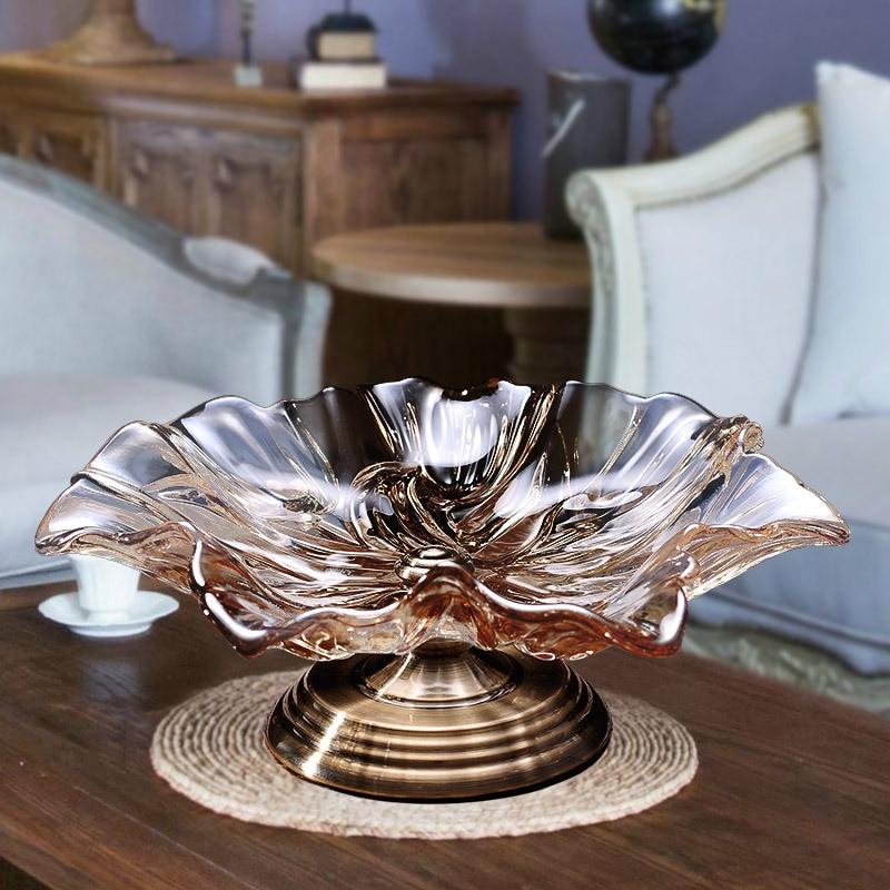 European style glass fruit plate luxury crystal glass large fruit basin European style living room creative ornaments