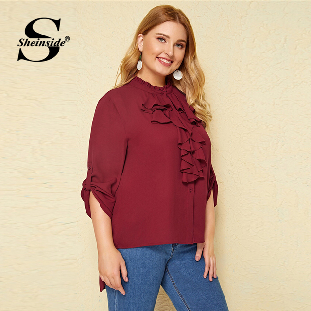 Sheinside Plus Size Casual Roll Up Sleeve Blouse Women 2019 Autumn Ruffle Trim Button Up Blouses Ladies Solid Stand Collar Top 2