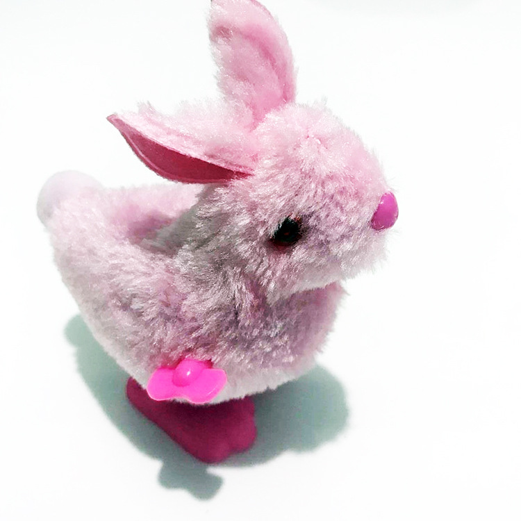 Wholesale Supply Wind-up Toy Shang Lian Tu Spring Little Bunny Plush Bunny Stall CHILDREN'S Toy