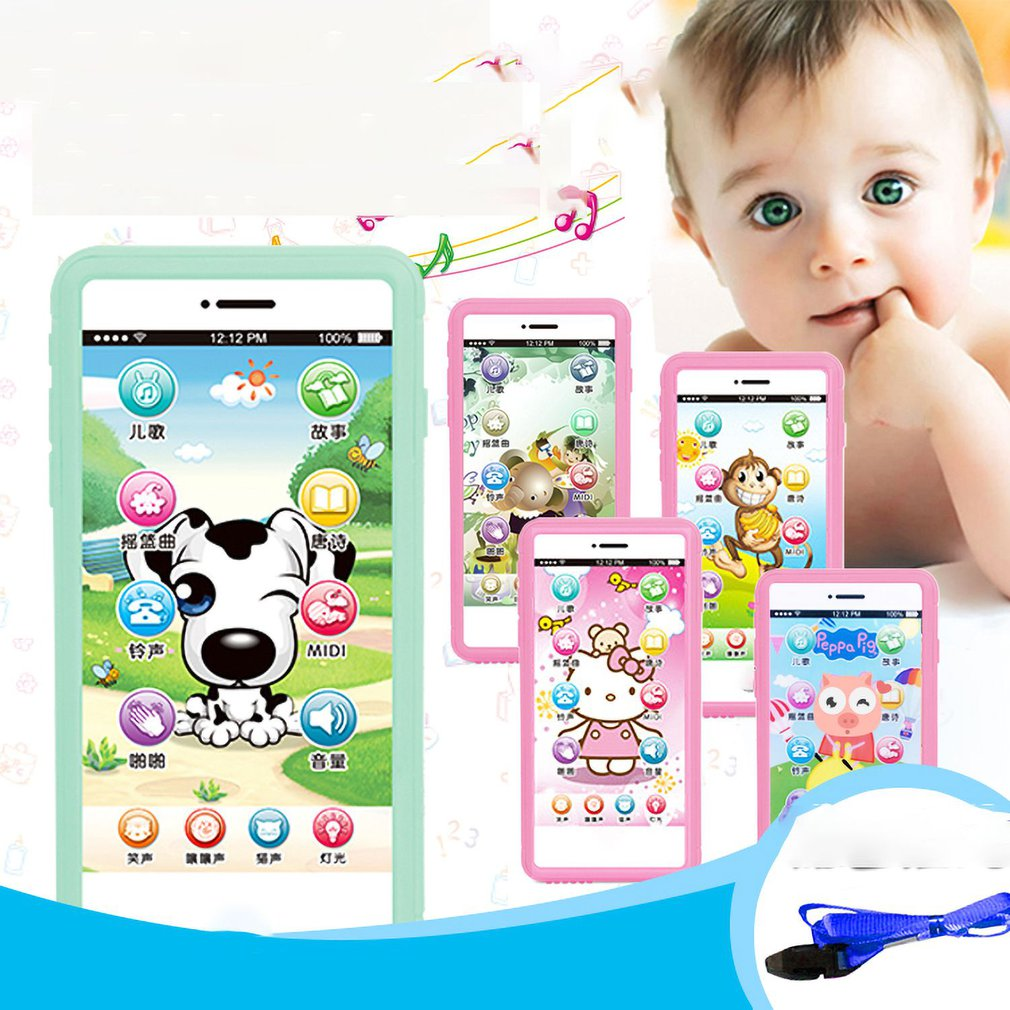 Children'S Cartoon Toy Touch Screen Mobile Phone To Send Lanyard Baby Smart Music Story Machine Baby Early Education Puzzle