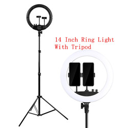 Photo Studio 14 Inch Ring Lamp With Tripod 3200-5600K 24W Selfie Ring Light Dimmable Photographic Lighting for Phone Video