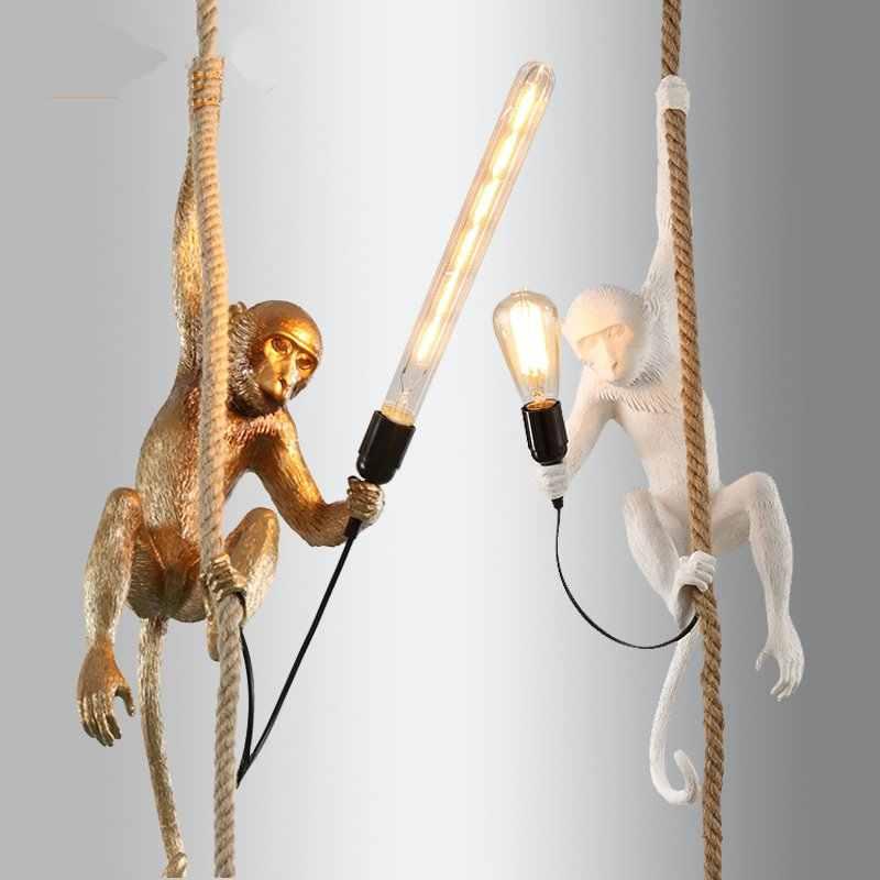 SELETTI Современная пеньковая веревка Подвесные светильники черные фигурки обезьян из мастики лампа Американский Лофт промышленный подвесной светильник домашние декоративные светильники