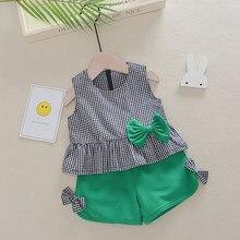 Crianças do bebê meninas verão conjunto de roupas nova moda crianças sem mangas xadrez topos + shorts 2 pçs infantil da criança meninas roupas 1-4y