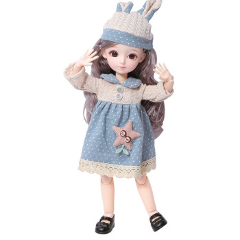 New 31 cm 23 articulated BJD doll new 12 inch 1/6 makeup dress up cute brown blue eyeball doll with fashion toy gift for girls fashion sd bjd doll girls doll with clothes blue eyes 18 inch cute princess doll toys for children s new year gift