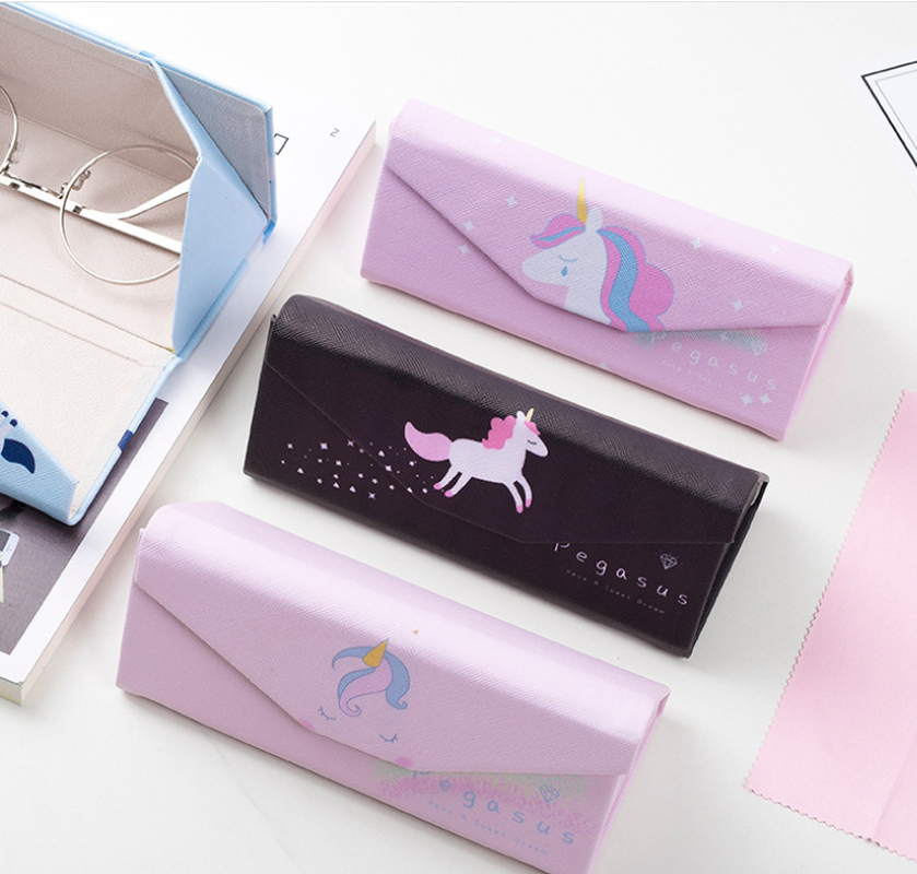 Top-grade PU Unicorn Spectacle Cases For Eyeglasses Fashion Folding Sunglasses Box Bag Portable Triangle Eyewear Protector