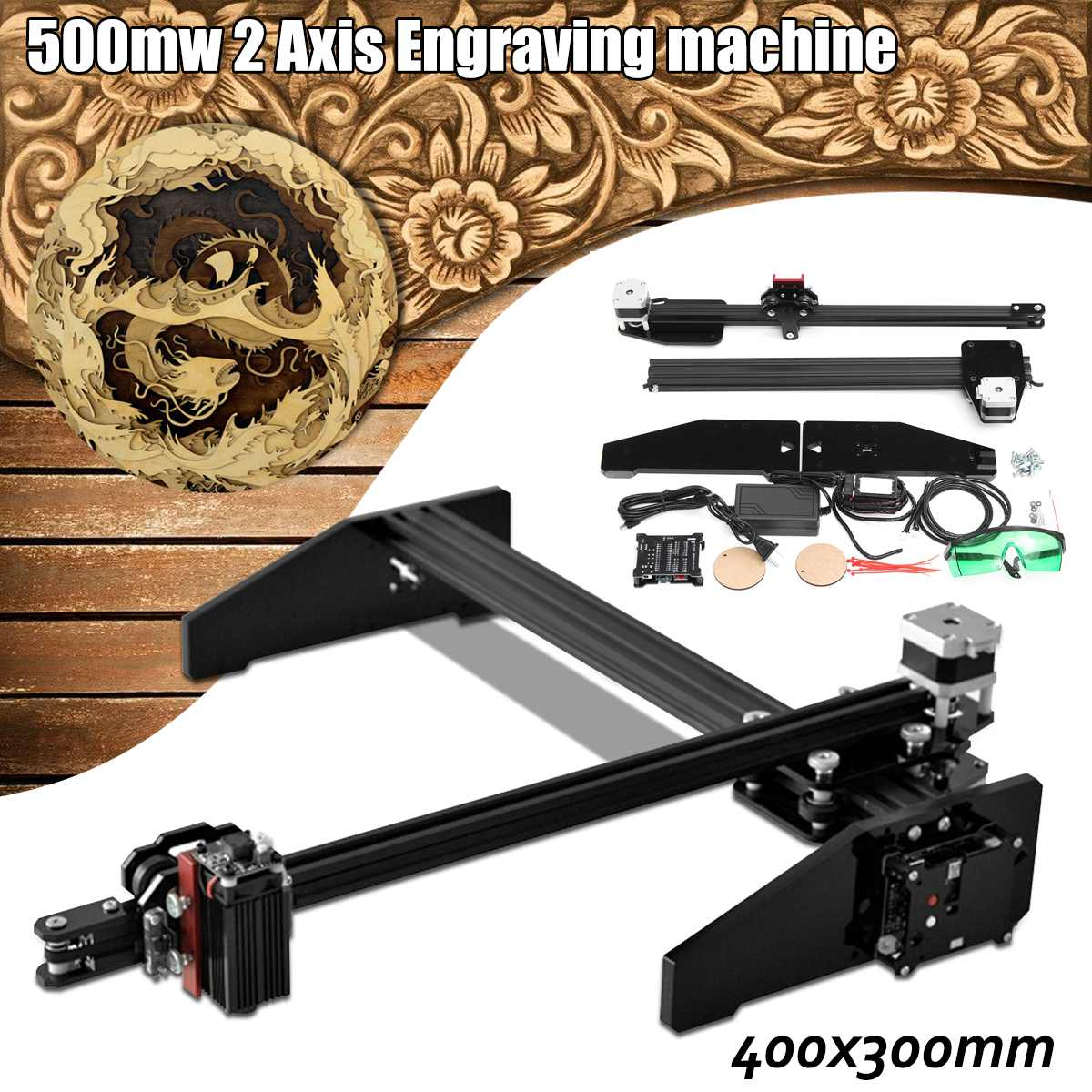 Newest 40*30cm 500mw 2Axis A3 Laser Engraving Cutting Engraver CNC Home DIY Cutter  Printer Using Stepper Motor Machine Tool