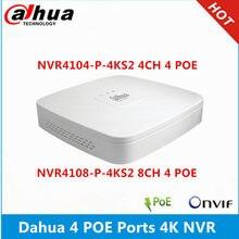 Dahua NVR4104-P-4KS2 4ch com 4 poe NVR4108-P-4KS2 8ch com 4poe portas max 8mp resolução 4k h.265 gravador de vídeo em rede