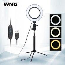 Mini luz de led regulável, lâmpada de vídeo com anel de 16cm para tablet e selfie com vara, tripé para youtube, fotografia, tiktok ao vivo