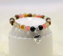Fashion Beaded Bracelet 8mm Color Natural Stone Cute Dog Footprint Peach Heart Pendant Boy Girl Party Birthday