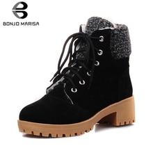 BONJOMARISA New Dropship Large Size 34-43 Winter non-slip Platform Snow Booties Women Warm Plush Med Chunky Heels Shoes Woman