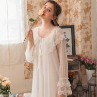 2019 Nightwear Women Lace Sleepwear Dress Vintage Nightgowns Victorian White Round Neck Sleep Shirt Night Gown Plus Size Nightie