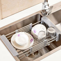 Stainless Steel Dish Drying Rack Telescopic Sink Drain Basket Home Kitchen Supplies PUO88