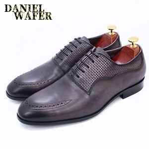 Image 4 - יוקרה מותג גברים אוקספורד נעלי איטלקי בעבודת יד עור אמיתי פורמליות נעלי תחרה עד אפור משרד עסקי חתונה שמלת נעלי גברים