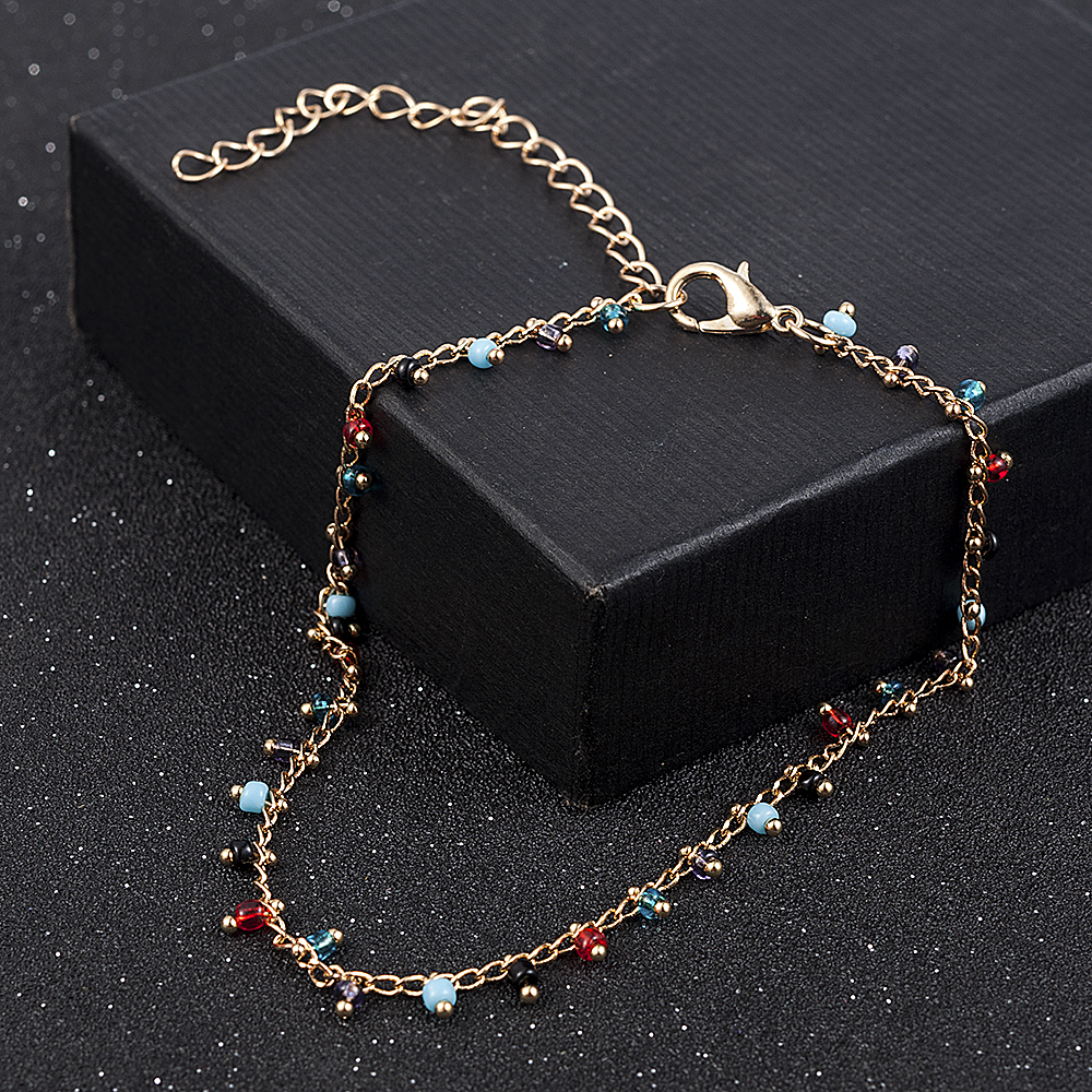 Simple Colorful Beads Anklets for Women Foot Accessories Summer Beach Barefoot Sandals Bracelet ankle on the leg Female Ankle