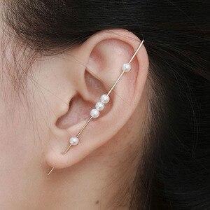 Ouro cheio/925 prata orelha manguito orelha alpinista artesanal natural pérola brincos jóias oorbellen minimalista boho brincos para mulher