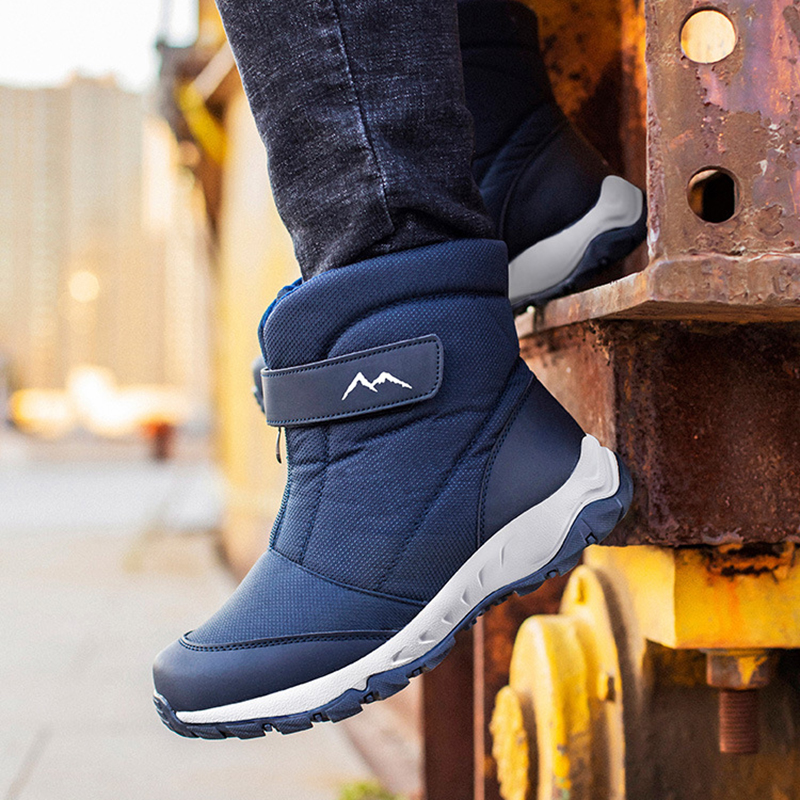 Bottes hivernales imperméables pour homme, chaussures de neige, chaudes, velours, nord-est, style casual, coton, résiste à l'eau, extérieur