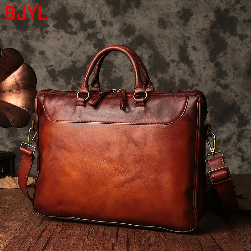2020 Handmade Men's Handbag Male Cowhide Retro Leather Casual Men Briefcase Laptop Bag Large Capacity Horizontal Computer Bags