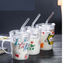 350 ml transparent straw cup Simple glass Creative gift drink Calibration milk