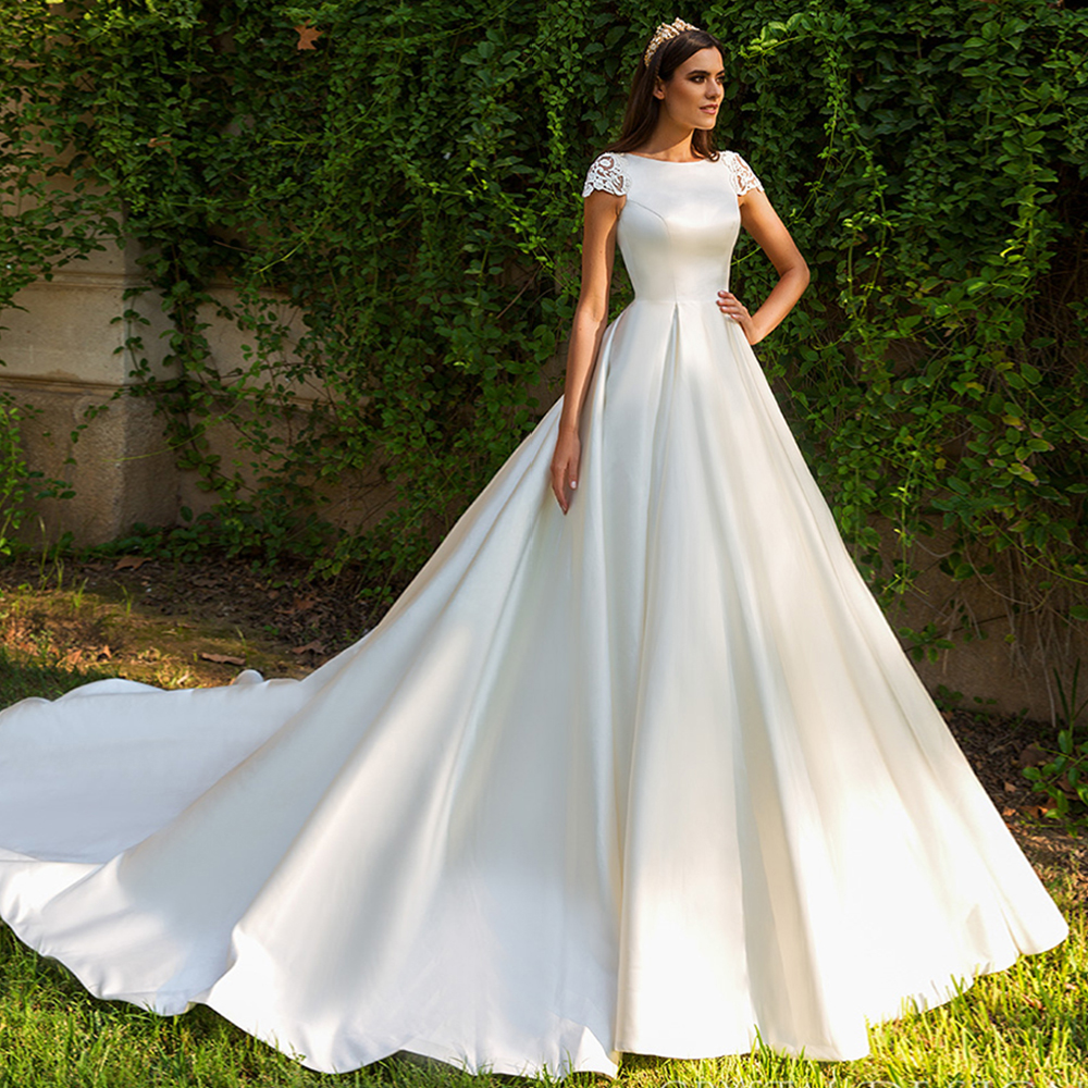 New Satin Bridal Dresses Beading Appliques Illusion Back Short Sleeve  Wedding Gowns for Brides