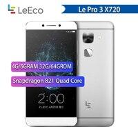 Oryginalny nowy Letv LeEco Le Pro 3 X720 telefon komórkowy 4G RAM 64GB ROM Snapdragon 821 5.5