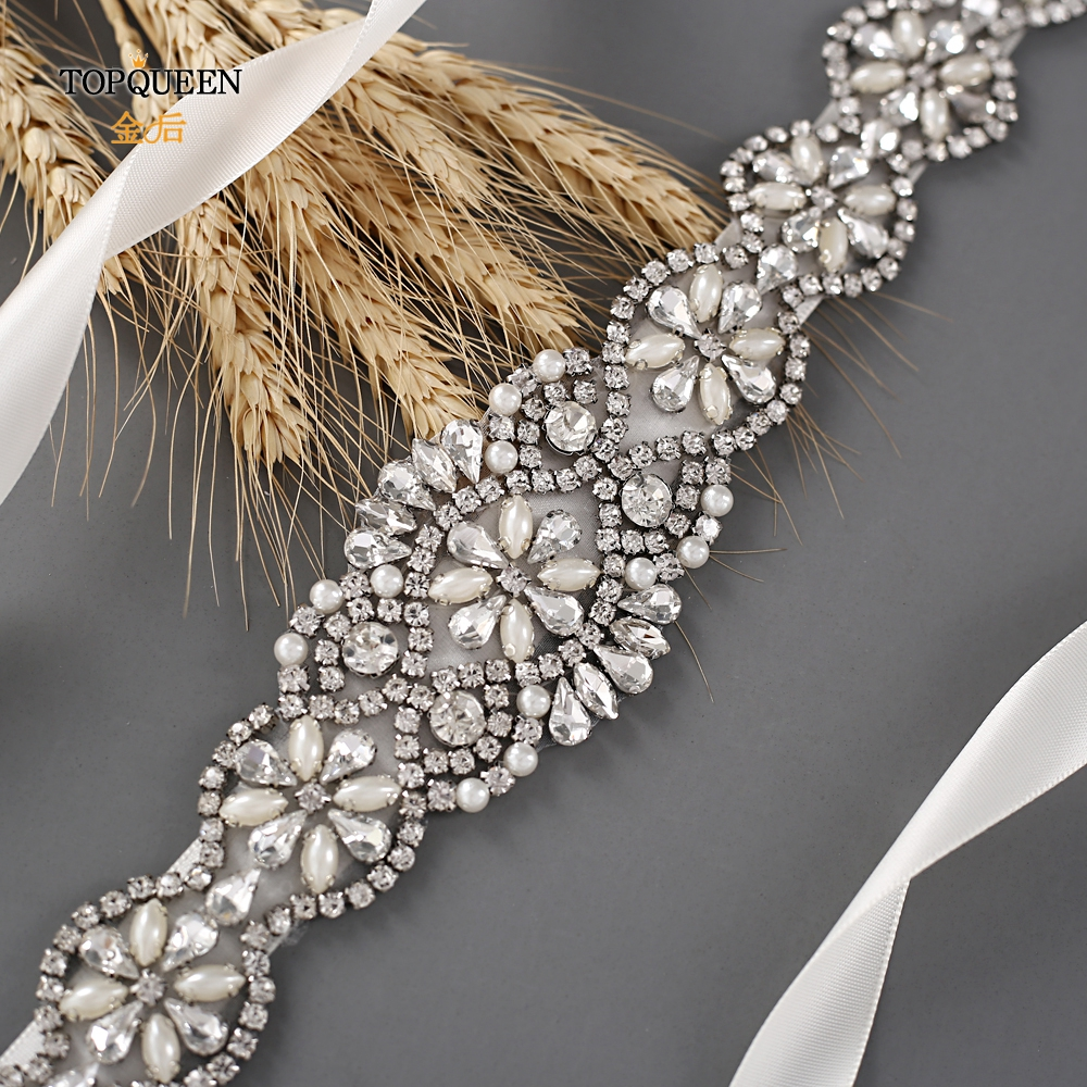 TOPQUEEN S161 Bridal Belts with Crystals Bridal Wedding Accessories Belts for Women Wedding Dress Sash Belt