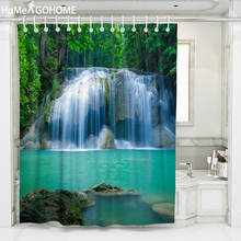 Bathroom Shower Curtain 3D Nature Waterfall Curtain For Bath Shower Waterproof Fabric Shower Curtains Boho Home Decoration 8Size