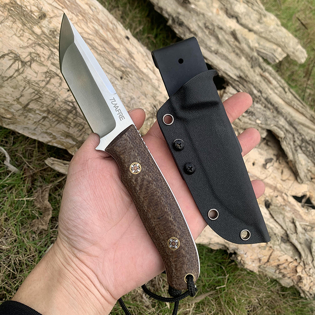 TUNAFIRE Newest D2 EDC  Fixed Hunting Knife  Micarta handle Fishing Outdoor tool   Send High Quality Kydex Sheath 1