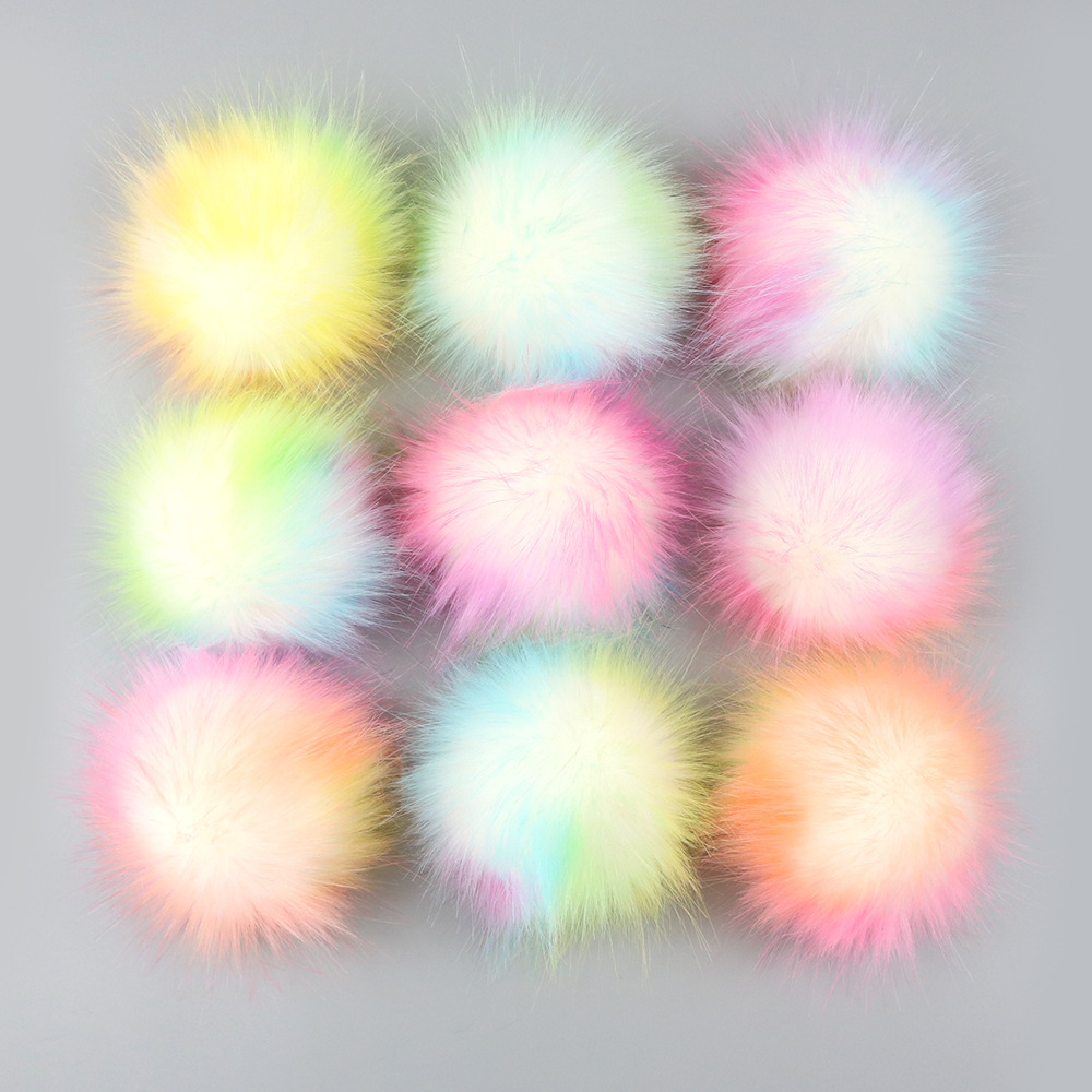 Wholesale Colorful False Hairball Hat Ball Pompom Handmade DIY Artificial Wool Ball Accessories Faux Fox Fur PomPom With Buckle