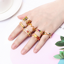 luxury womens gold ring cz rainbow rings accessories for women colorful zircon crystal adjustable jewelry femme gift
