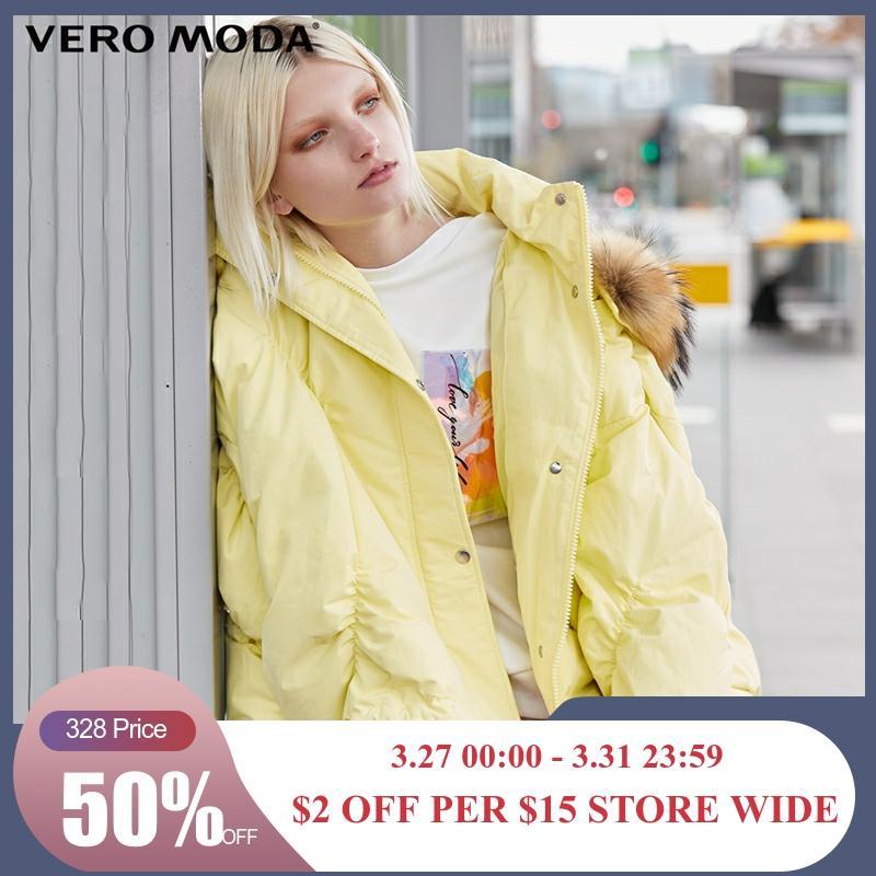 Vero Moda New Silhouette Fur Collar Hooded Hemline Drawstring Down Jacket  | 319423525