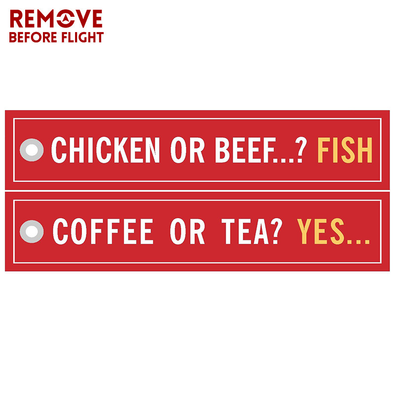 Coffee or YES Keychains for Cars Embroidery Chicken or Beef Fish Key Chain Bijoux Gifts Tag Porte Clef Aviation Key Chains (4)
