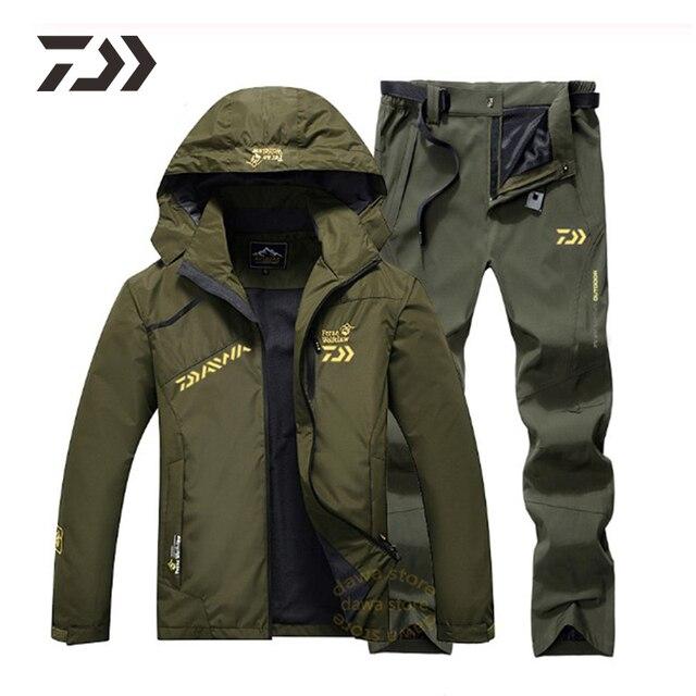 Мужской рыболовный костюм куртка брюки непромокаемая ткань и тёплая подкладка 1