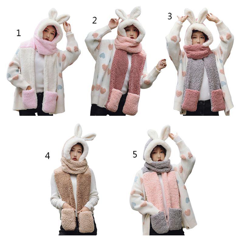 Boys Girls Thicken 3 in 1 Hat Gloves Scarf Set Cute Bunny Hat Winter Warm Cartoon Plush Hoodie Gloves Pocket Earflap Hat Long Scarf Shawl Wraps