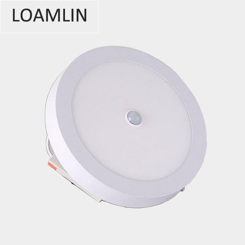 Ceiling Lamp PIR Human Body Motion Sensor Induction Downlight AC 220V 6W/12W/18W/24W Round LED Ceiling Panel Light