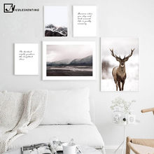Scandinavian Decoration Canvas Poster Nordic Style Print Deer Mountain Nature Art Painting Modern Wall Picture for Living Room(China)