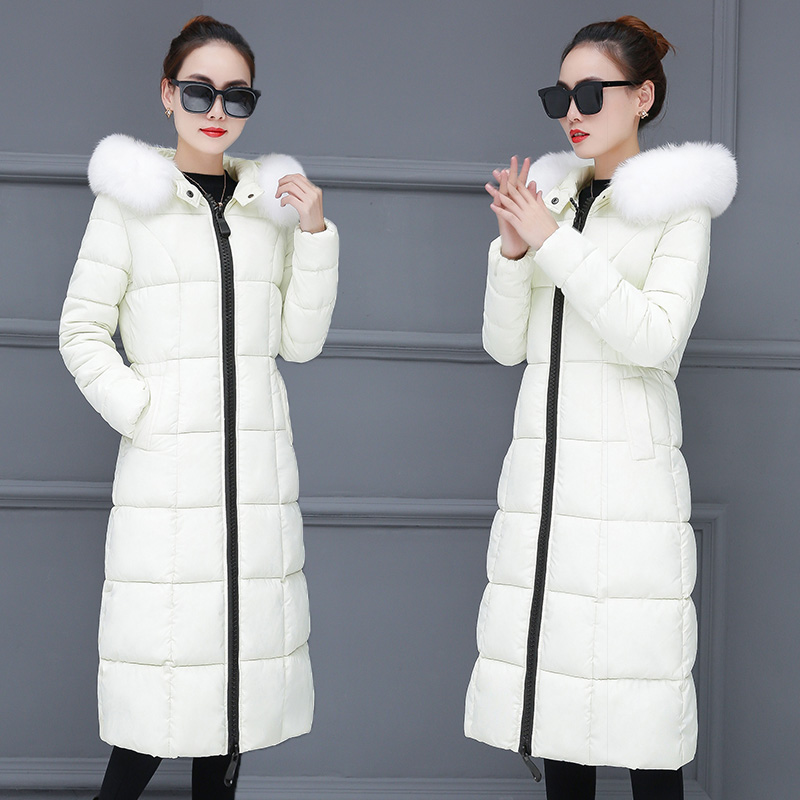 2019 New Fashion Women Winter Hooded Coat Long Slim Warm Jacket Solid Color Down Cotton Padded Jacket Outwear Elegant   Parkas