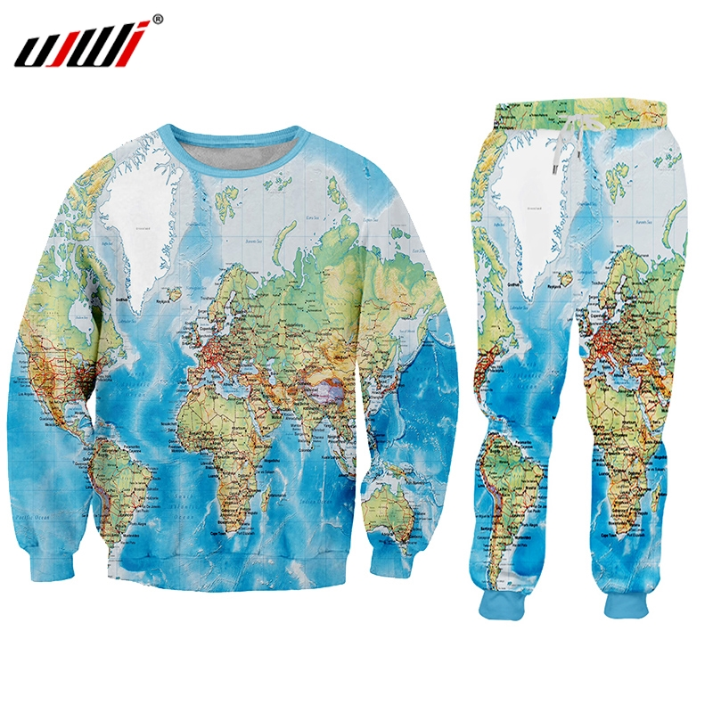 UJWI 2019 3D Print Suits Men's Sets World Map Ocean Funny Harajuku Winter Tracksuit Jacket Sweatsuit Sweatshirt Hoodies Jacket
