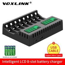 Умное зарядное устройство VOXLINK с ЖК-дисплеем, умное зарядное устройство с 8 слотами для аккумуляторных батарей AA/AAA NiCd NiMh, зарядное устройств...
