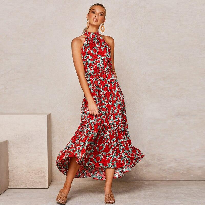 Summer Women's Suspender Long Skirt Bohemian holiday print dress платье летнее