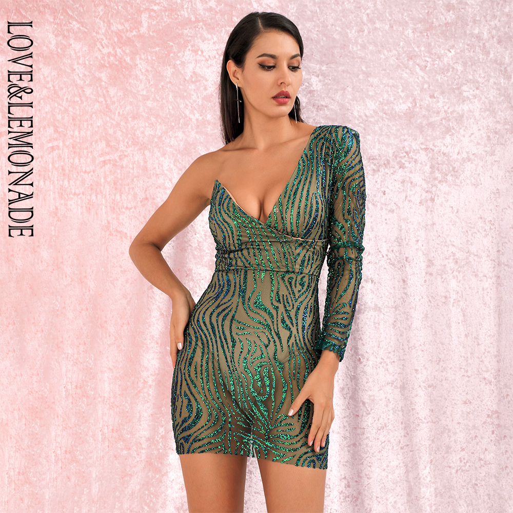 LOVE&LEMONADE Sexy Green V-neck Glitter Glue Bead Material Bodycon Party Mini Dress LM81878-1 Autumn/Winter