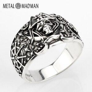 Image 1 - 925 anneau de crâne pour hommes en argent Sterling squelette crâne anneau Pirate ancre Biker Punk Style gothique pour les amoureux bijoux de fête