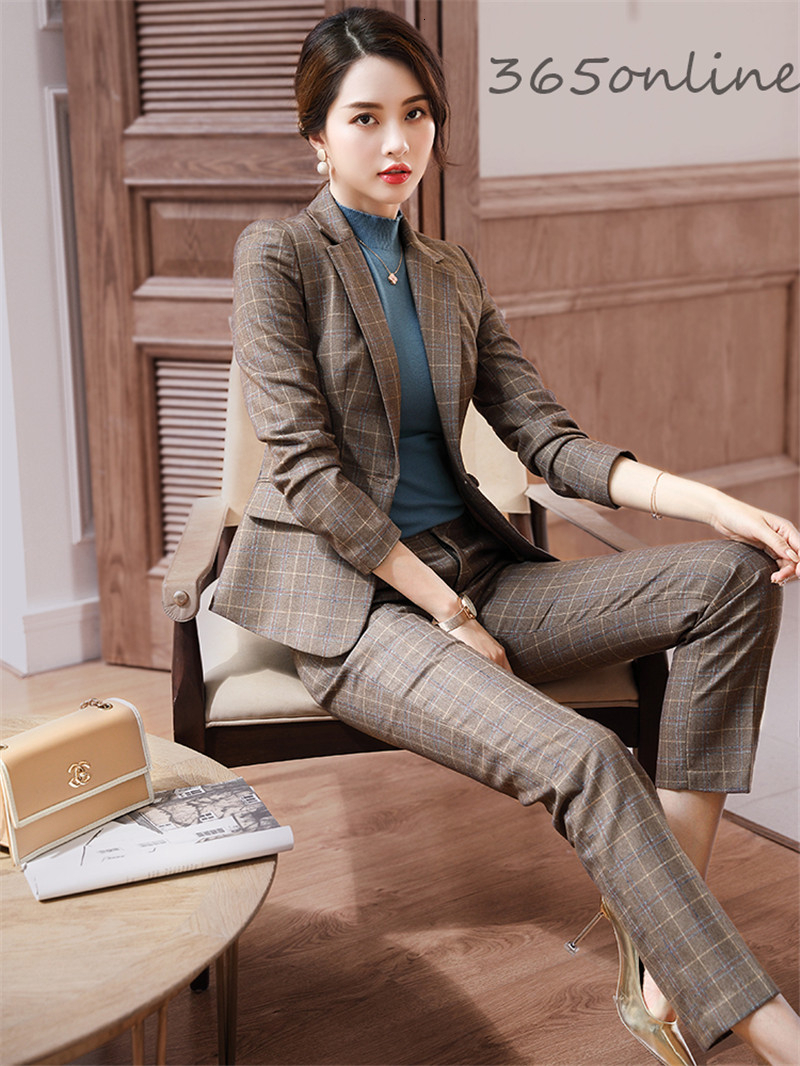 Fashion Plaid High Quality Fabric Formal Women Business Suits With Pants And Jackets Ladies Pantsuits Professional Blazers Set