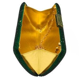 Image 4 - Boutique De FGG Elegant Green Emerald Crystal Women Evening Handbags Metal Hard Case Wedding Party Dinner Diamond Clutch Bag