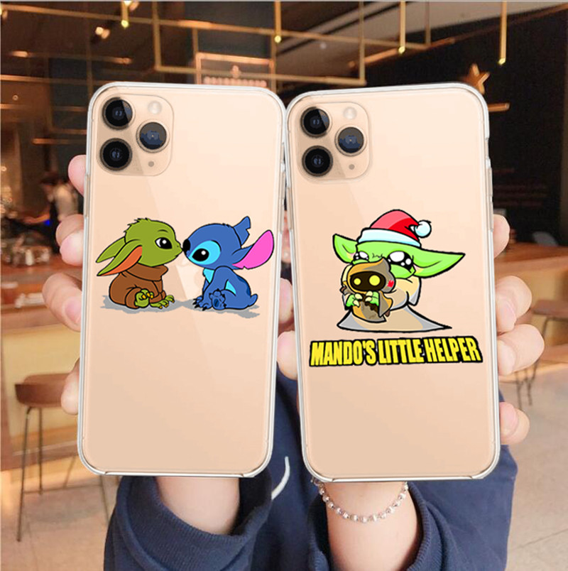 2020 cute cartoon Baby Yoda Meme Case For iPhone 11 Pro XS MAX XR X 6 6S 7 8 Plus Soft silicone Clear Cover Phone Case